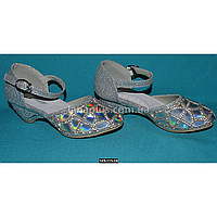 Серебристые туфли для девочки, 26-31 размер, нарядные туфельки на утренник, выпускной