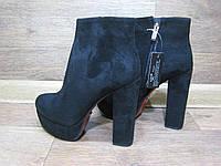 Ботинки женские на толстом каблуке + красная подошва. Классические черные замшевые ботиночки.