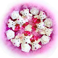 Букет из мягких игрушек Мишки малиново розовые с пухом