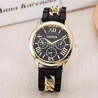 Часы Женева с силиконовым ремешком и цепочкой белый циферблат Черные