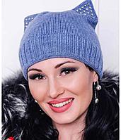 Молодежная зимняя шапка с ушками