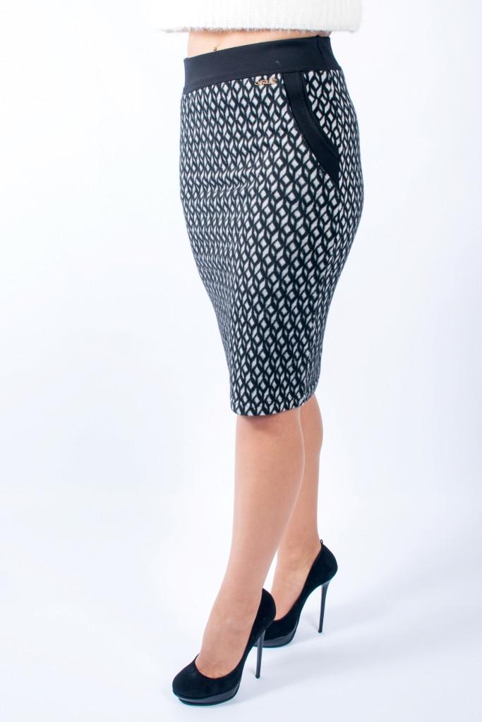 3599be0e878 Женская теплая юбка Сара черно-белая  продажа