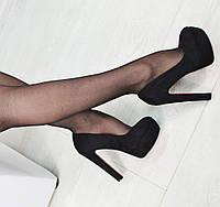 Черные  туфли толстый каблук