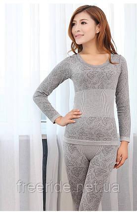 Женское термобелье, модальное кружевное белье (серое), фото 2