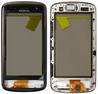 Тачскрин (сенсор, экран) Nokia C6-00 белый + рамка