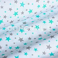 Бязь Звездная россыпь мятно-серая на белом, фото 1
