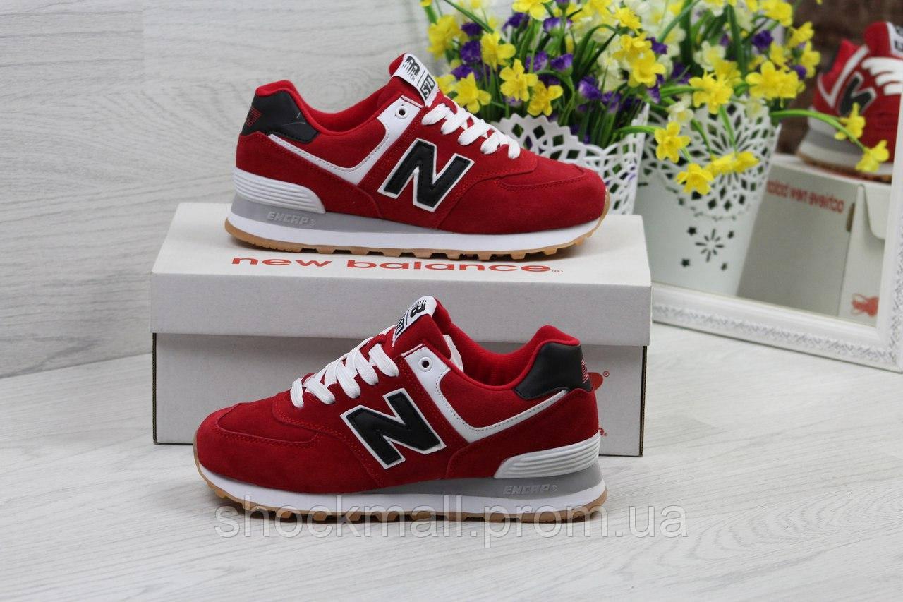 New Balance 574 кроссовки женские красные замша Вьетнам реплика ... ae54572ee0871