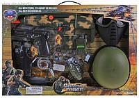 Набор военный детский 33470 автомат,звук,свет,каска,фляга,бинокль
