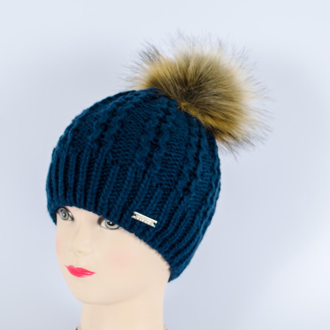 Женская шапка с помпоном, (Синий)