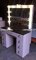 Визажный стол, стол для макияжа. Модель V54 черный / венге светлый