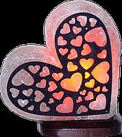 Солевой, соляной  светильник, лампа  сердце с узором