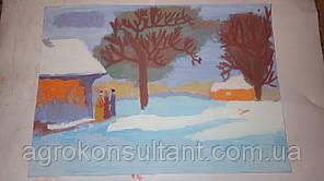 """Рисунок """"Зимний пейзаж"""" лист А3"""