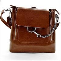Женская сумочка-рюкзак из кожи рыжего цвета TRR-300788, фото 1