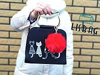 Брелок помпон меховой, Меховые брелки, меховой брелок - помпон на сумку Красный