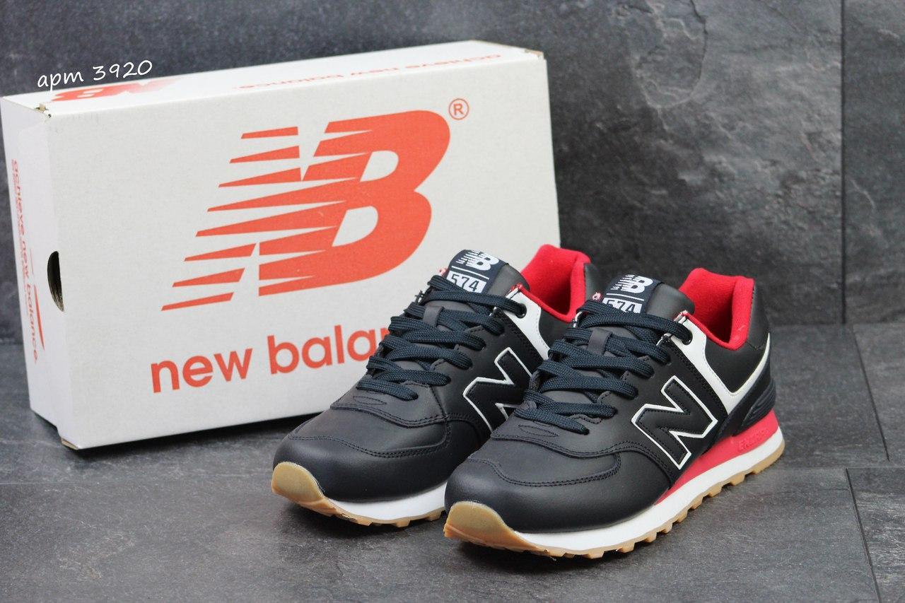 Мужские кроссовки New Balance 574 темно синие с красным