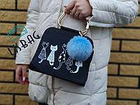 Брелок помпон меховой, Меховые брелки, меховой брелок - помпон на сумку Голубой