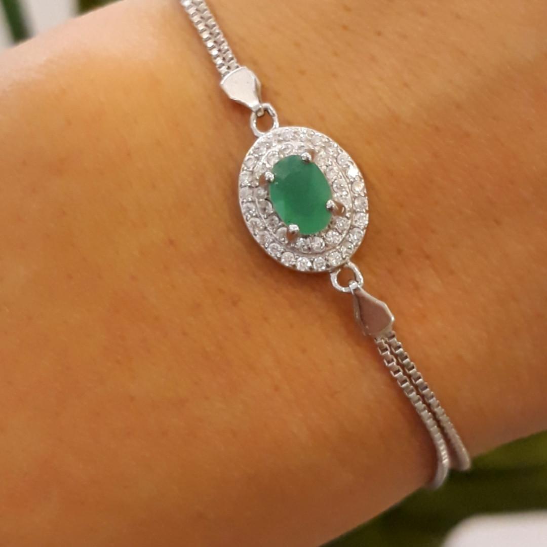 Женский браслет серебро - Серебряный браслет с зеленым камнем