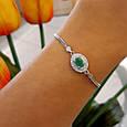 Женский браслет серебро - Серебряный браслет с зеленым камнем , фото 2