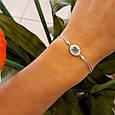 Женский браслет серебро - Серебряный браслет с зеленым камнем , фото 5