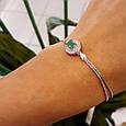 Женский браслет серебро - Серебряный браслет с зеленым камнем , фото 3