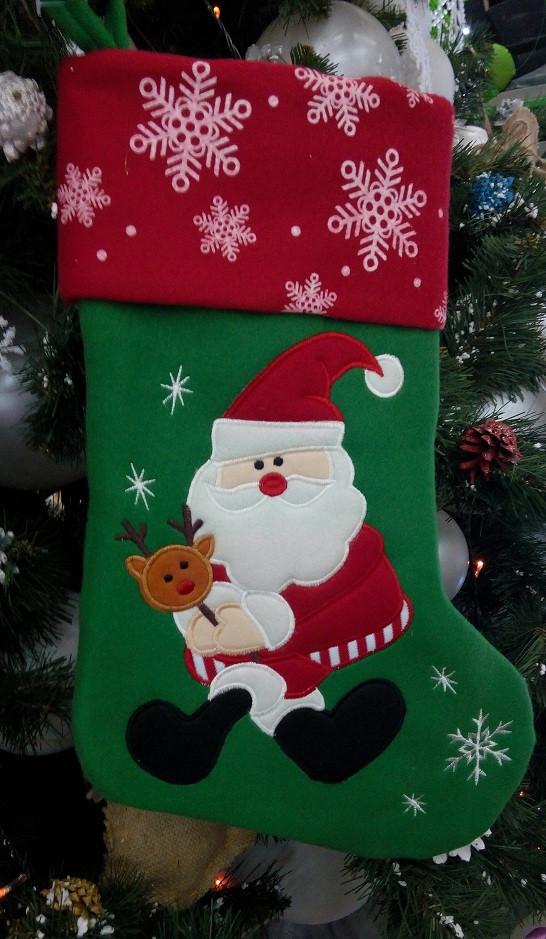 Новогодний сапожок красно-зелёный Дед Мороз