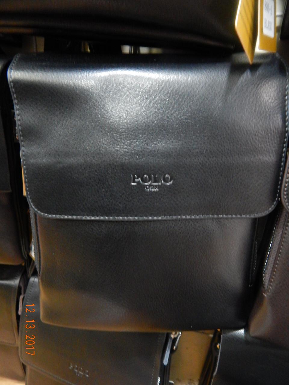 Мужская сумка через плечо от фирмы Polo кожаный клапан опт розница