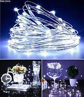 Гирлянда декор, проволока 100 led длина 10 метров. Цвет холодный, фото 1