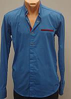 Красивая мужская рубашка цвет синий
