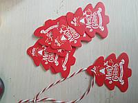 """Подарочные новогодние бирки """"Рождественская елочка"""", плотный картон, набор из 10 шт.+подвеска"""