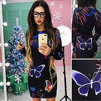 Платье с модным  принтом 6 расцветок Ткань: дайвинг Размер: универсал