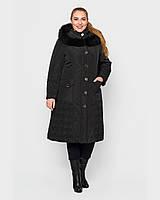 Женское плащевое зимнее пальто 48-60р черный