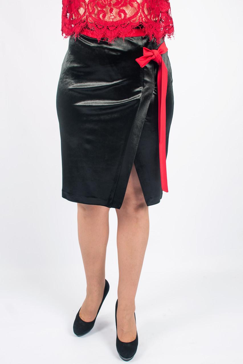 Женская велюровая юбка Синди черная