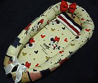 """Гнездышко-кокон для новорожденного с съемным  матрасиком """"Микки Маус"""""""