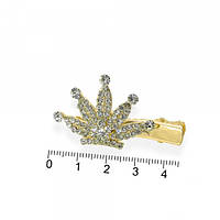 Заколка металл с короной в стразах золотистая L 4,5 см