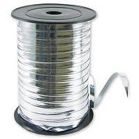 Лента для подарков 0.5 см*150 м фольга серебро
