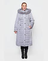 Зимнее женское плащевое пальто с мехом песца, 48-60р, св.серый