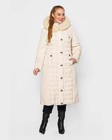 Зимнее женское плащевое пальто с оторочкой песца, 48-60р, молоко