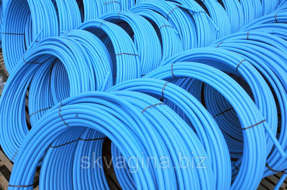 Труба полиэтиленовая, синяя (16 атмосфер) Ø25; 2.4 мм (первичное сырье)