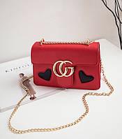 Новинка! Стильная женская сумка Gucci GG Marmont с сердцем красного цвета