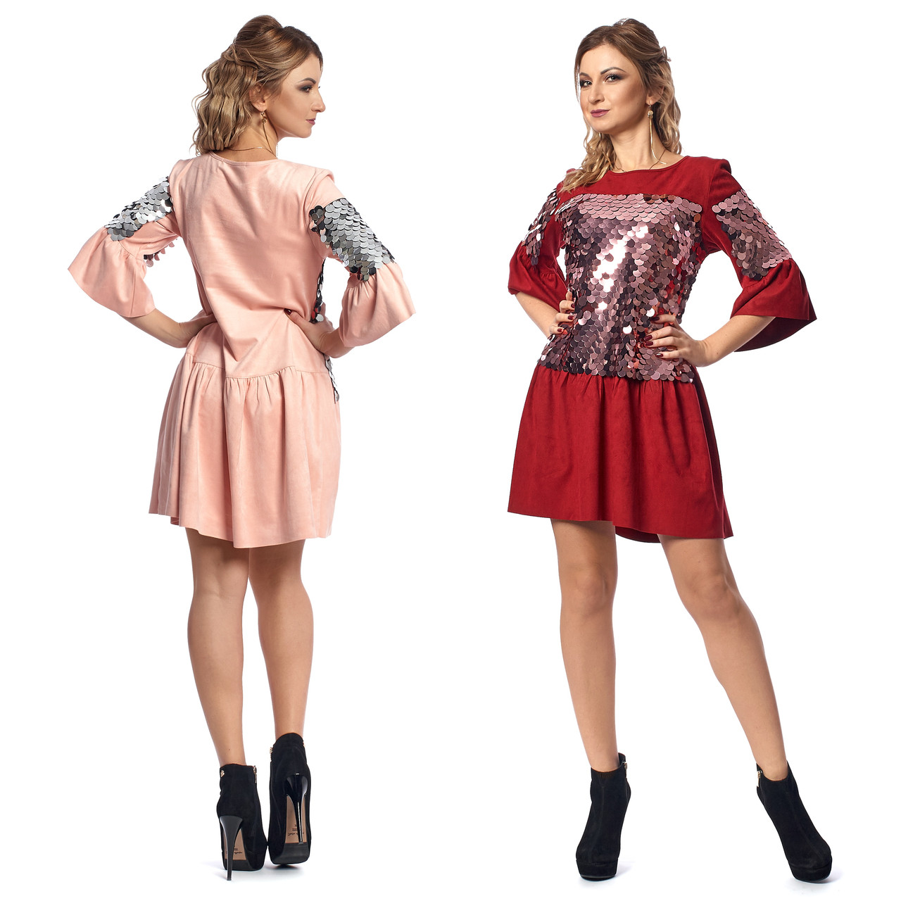 8e1095b9f51 Купить Нарядное платье с заниженной талией из замши с пайетками по ...