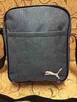 Серая сумка-планшетка Puma (Пума) с белым логотипом