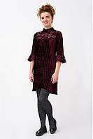 Велюровое асимметричное платье плиссе для девочки, цвета марсала
