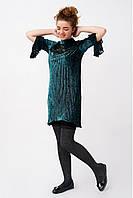 Асимметричное велюровое платье плиссе для девочки, изумрудного цвета