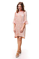 Асимметричное велюровое платье плиссе для девочки, персикового цвета