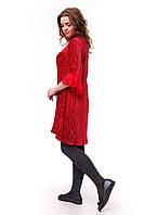 Велюровое асимметричное платье плиссе для девочки, красного цвета