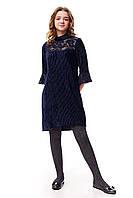 Велюровое асимметричное платье плиссе для девочки, синего цвета