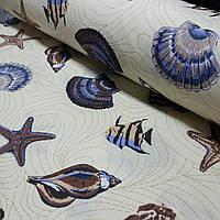 Бязь с морскими звездами, ракушками, рыбками, ширина 220 см, фото 1