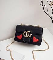 Новинка! Стильная женская сумка Gucci GG Marmont с сердцем черного цвета