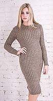 Длинное вязаное платье светло-коричневый