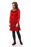 Роскошное бархатное платье плиссе для девочки красного цвета